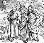 Jesus with two disciples on the road to Emmaus