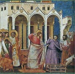 Casting out the money changers by Giotto, 14th century